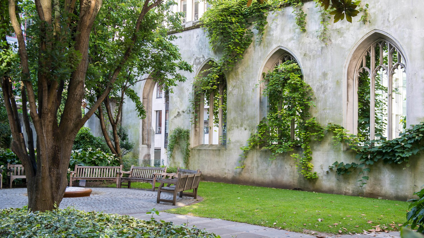 Hidden garden in the ruins of St. Dunstan in the East medieval church, City of London