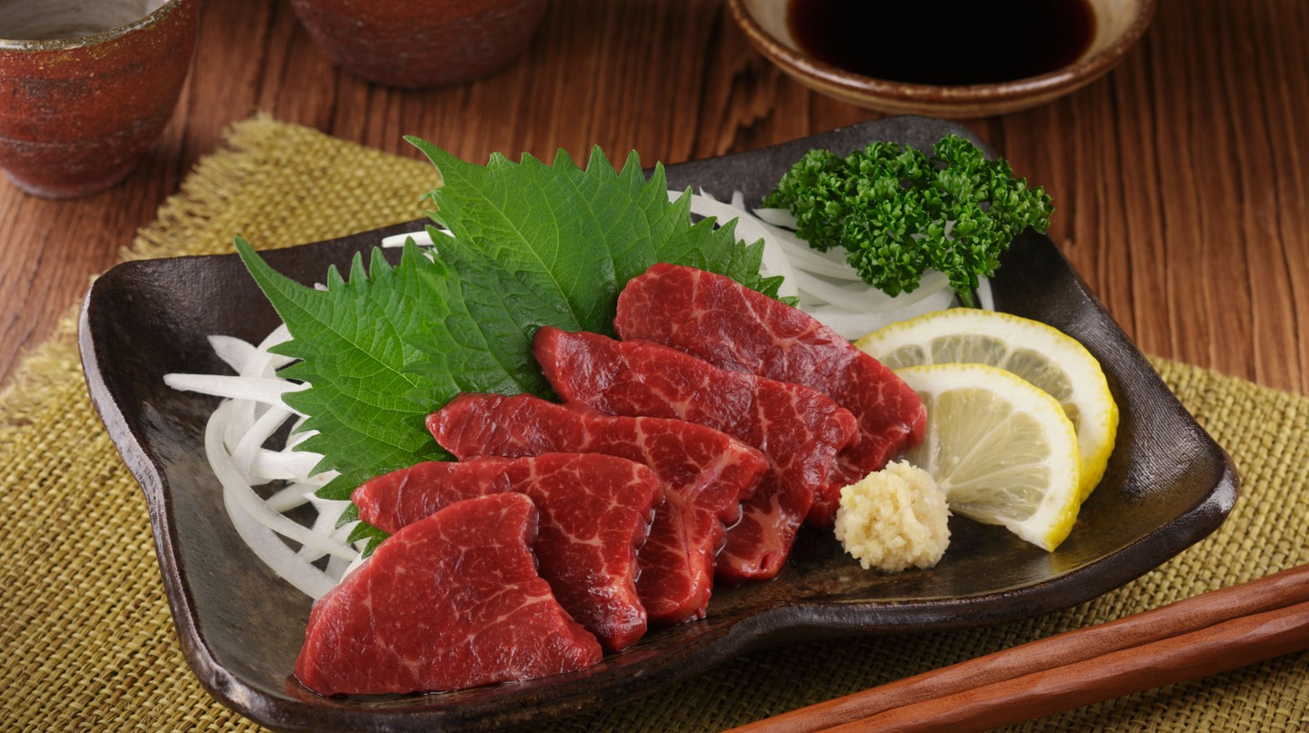 Raw horse meat sashimi is a local speciality