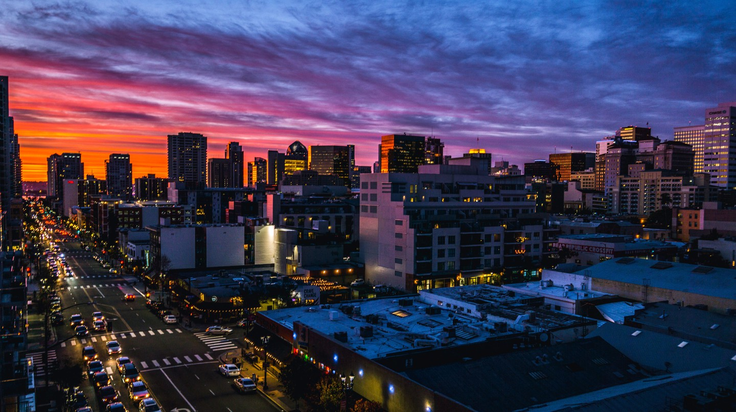 The sun goes down over San Diego - but the night is still young