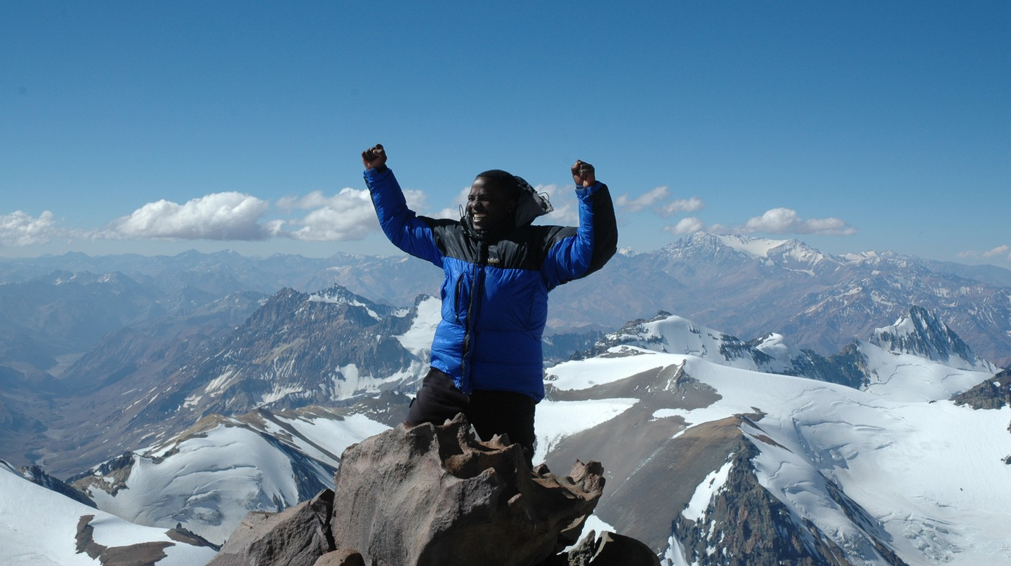 On top of the world? Not quite – Sibusiso reaches camp three of Aconcagua, the highest mountain in South America