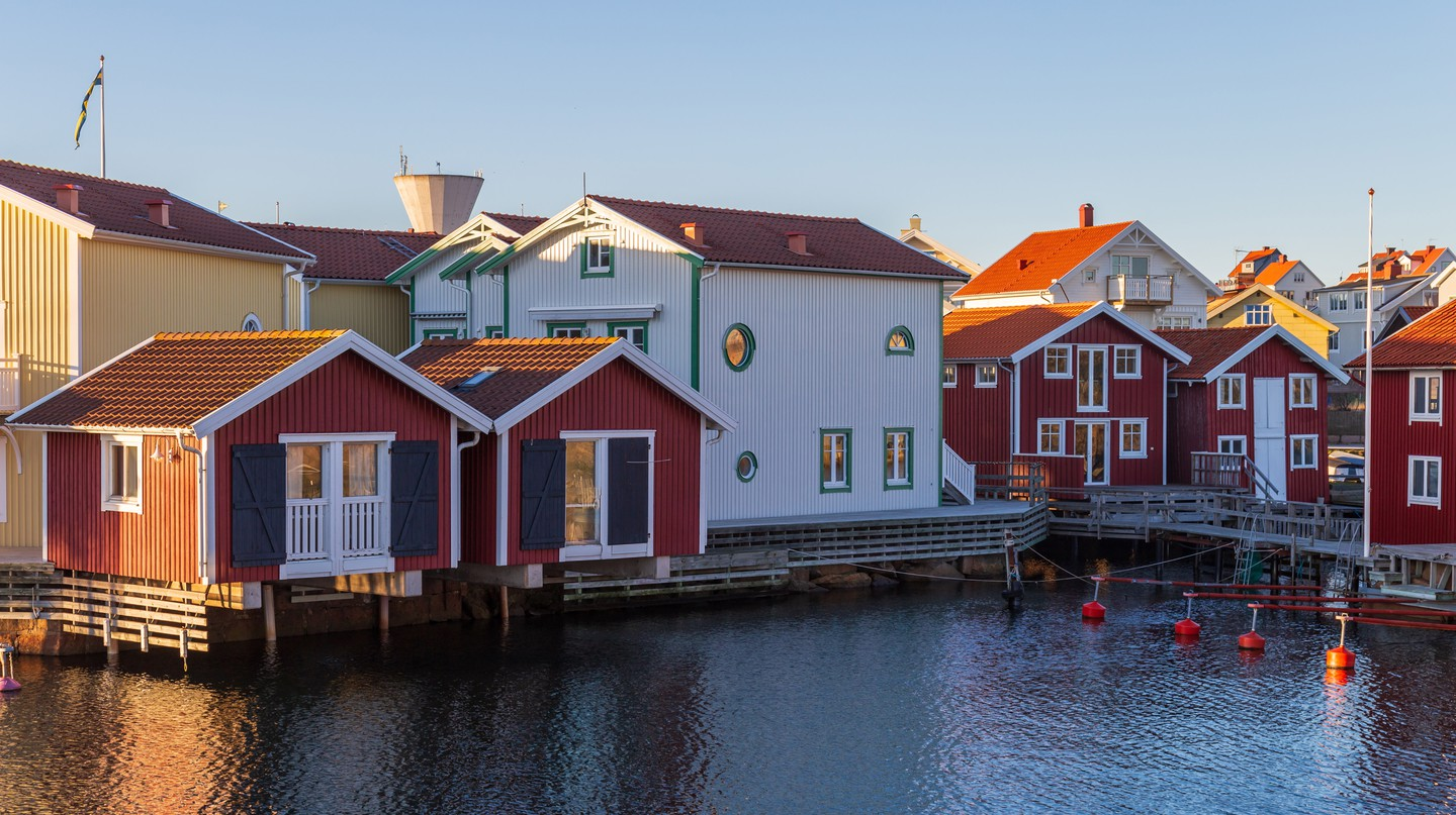 The small village of Smögen is known for its vivid red, yellow and blue fishermen's cabins