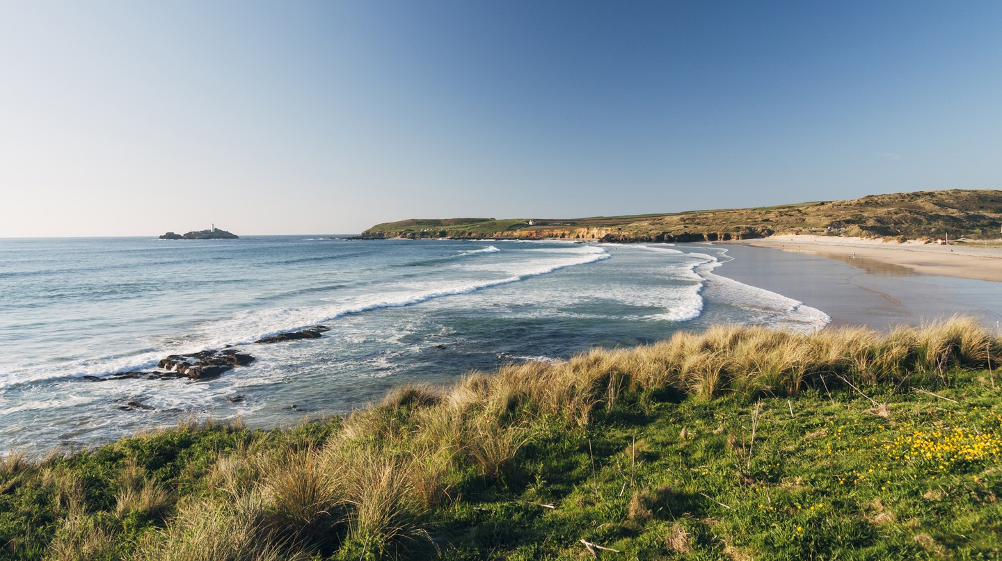 Godrevy beach is near St Ives on the coast of Cornwall