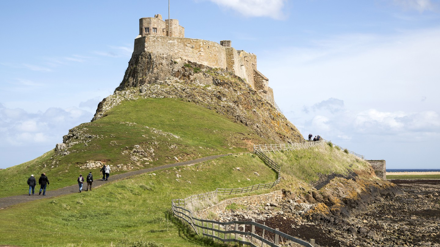 Lindisfarne Castle, on Holy Island off the northeast coast of Northumberland. The island is steeped in history dating back 1,400 years