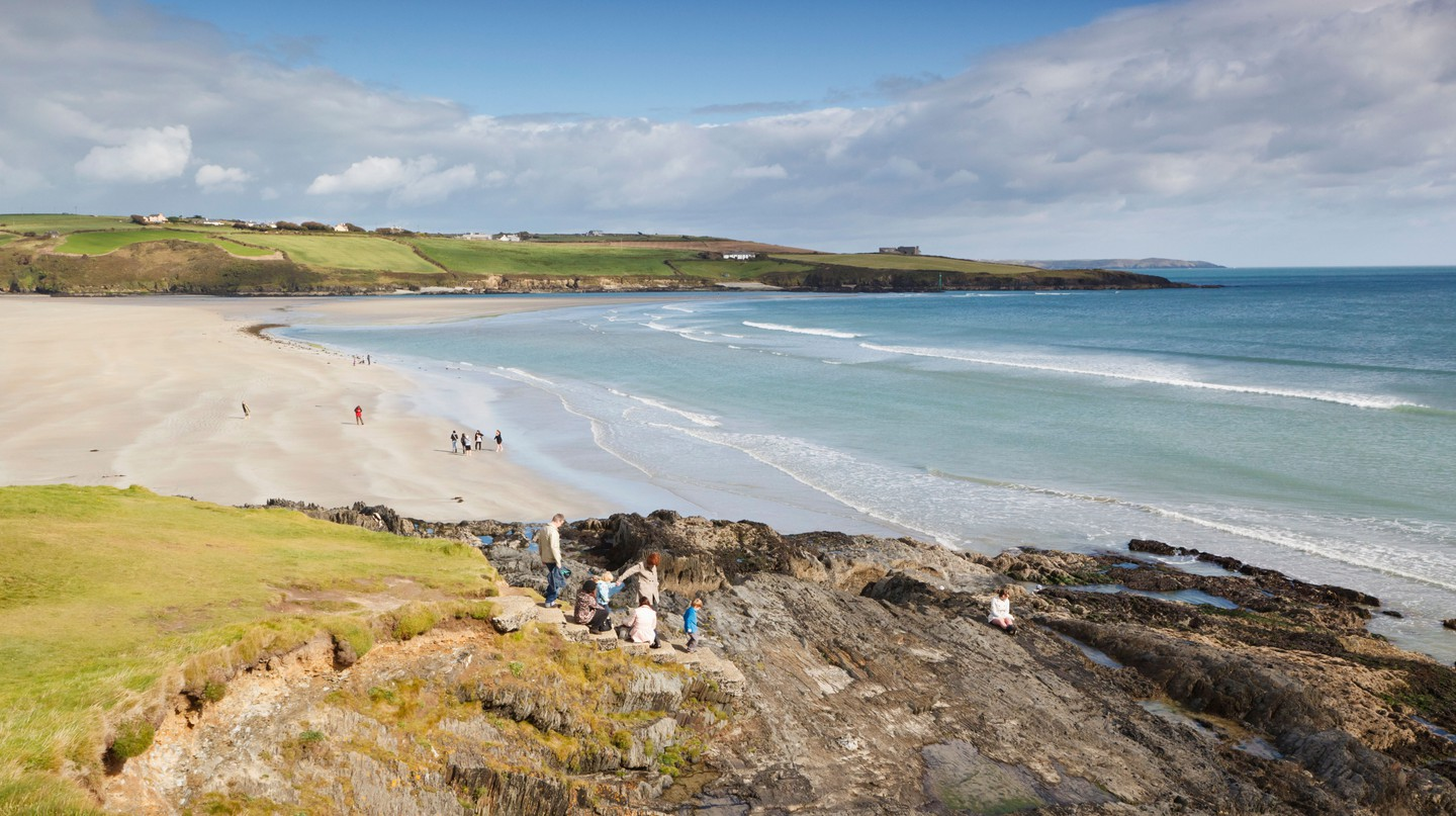 Inchydoney Beach is the perfect place to teach the entire family how to surf