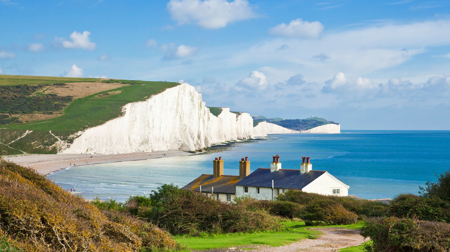 Find the Seven Sisters chalk cliffs in South Downs National Park, East Sussex