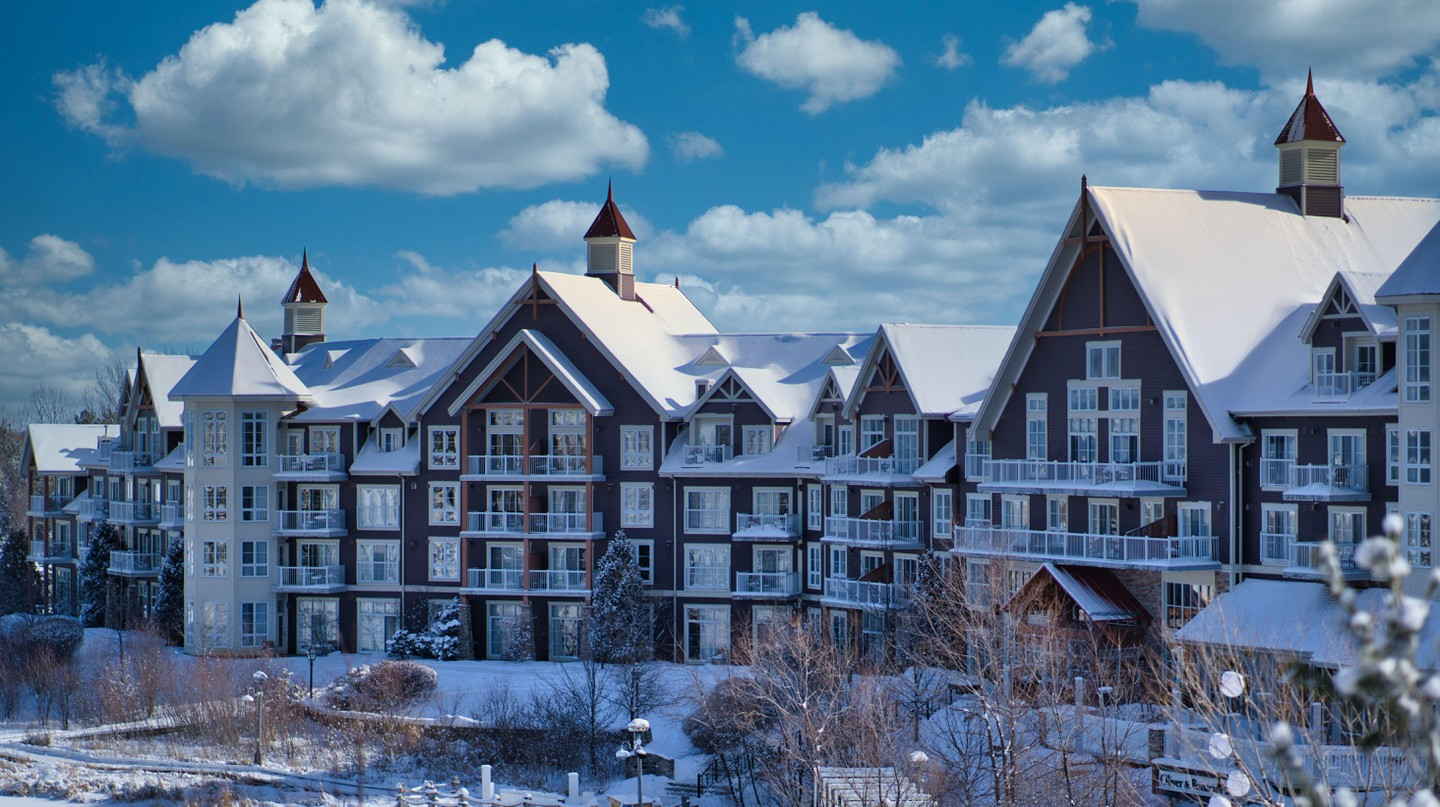 Close Up View Of The Blue Mountain Resort In Collingwood, Ontario