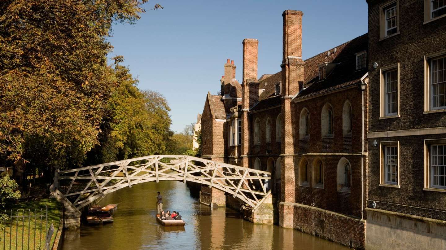 The Mathematical Bridge takes its name from the arrangement of its timbers at certain tangents to create its arching shape