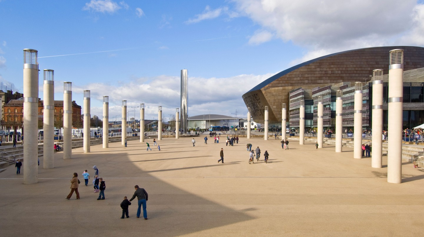 The Roald Dahl Plass, next to the Wales Millennium Centre, is one of the top places to check out in the Cardiff Bay area