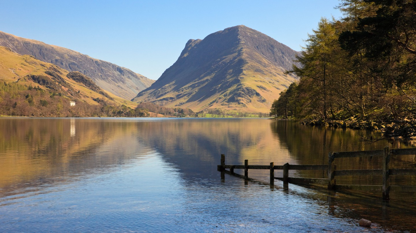 A scenic view of Fleetwith Pike, from Lake Buttermere in the Lake District