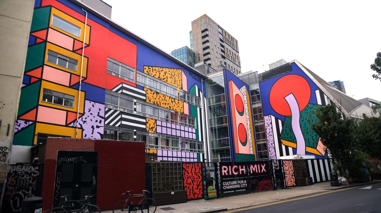 Camille Walala mural at the Rich Mix arts centre