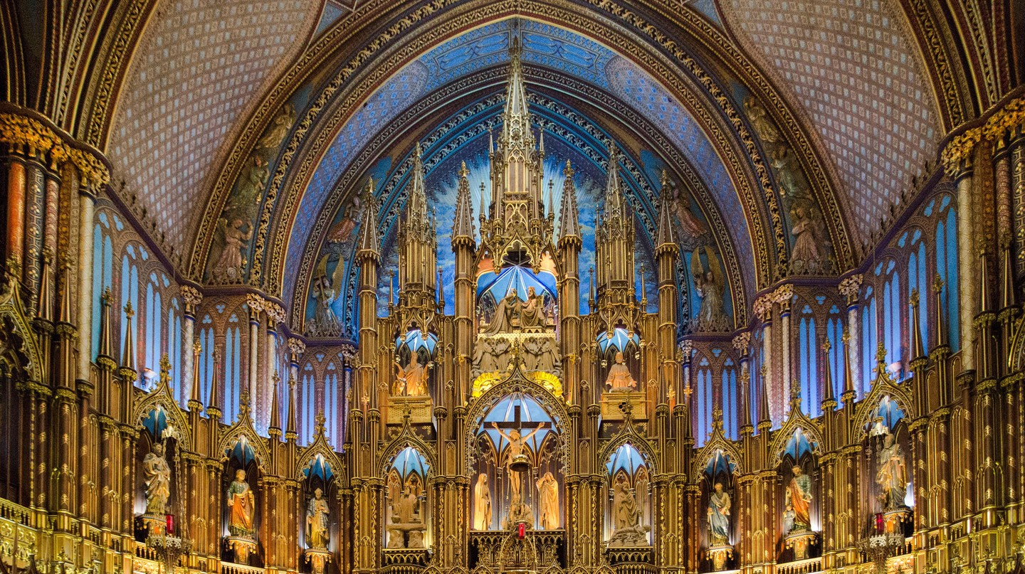 The vast Notre-Dame Basilica in Montreal, built in the 19th century, is a prime example of gothic revival architecture