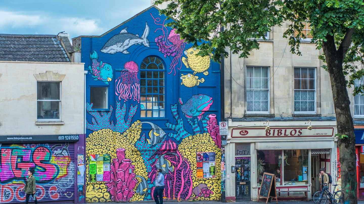 Stokes Croft is a colourful Bristol district full of street art