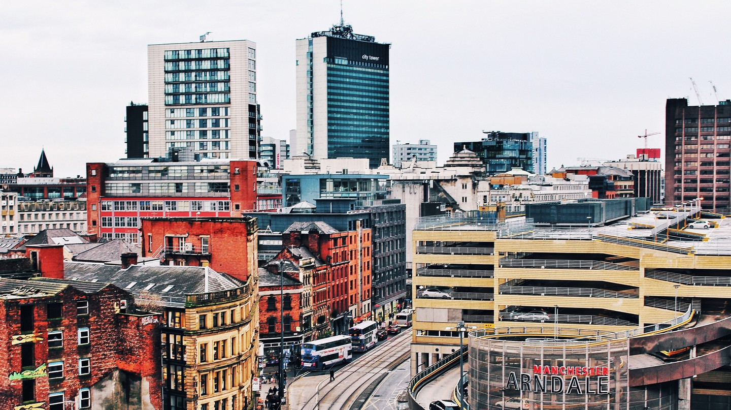 The Manchester skyline with the Arndale shopping centre in sight