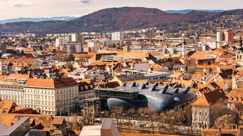 The unusual roof of Kunsthaus art museum in Graz, Austria