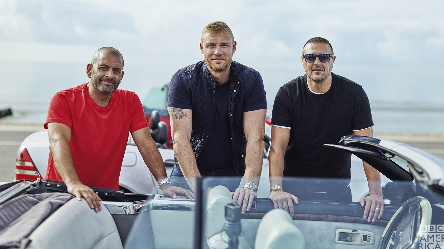 The current Top Gear presenting team, from left: Chris Harris, Freddie Flintoff and Paddy McGuinness