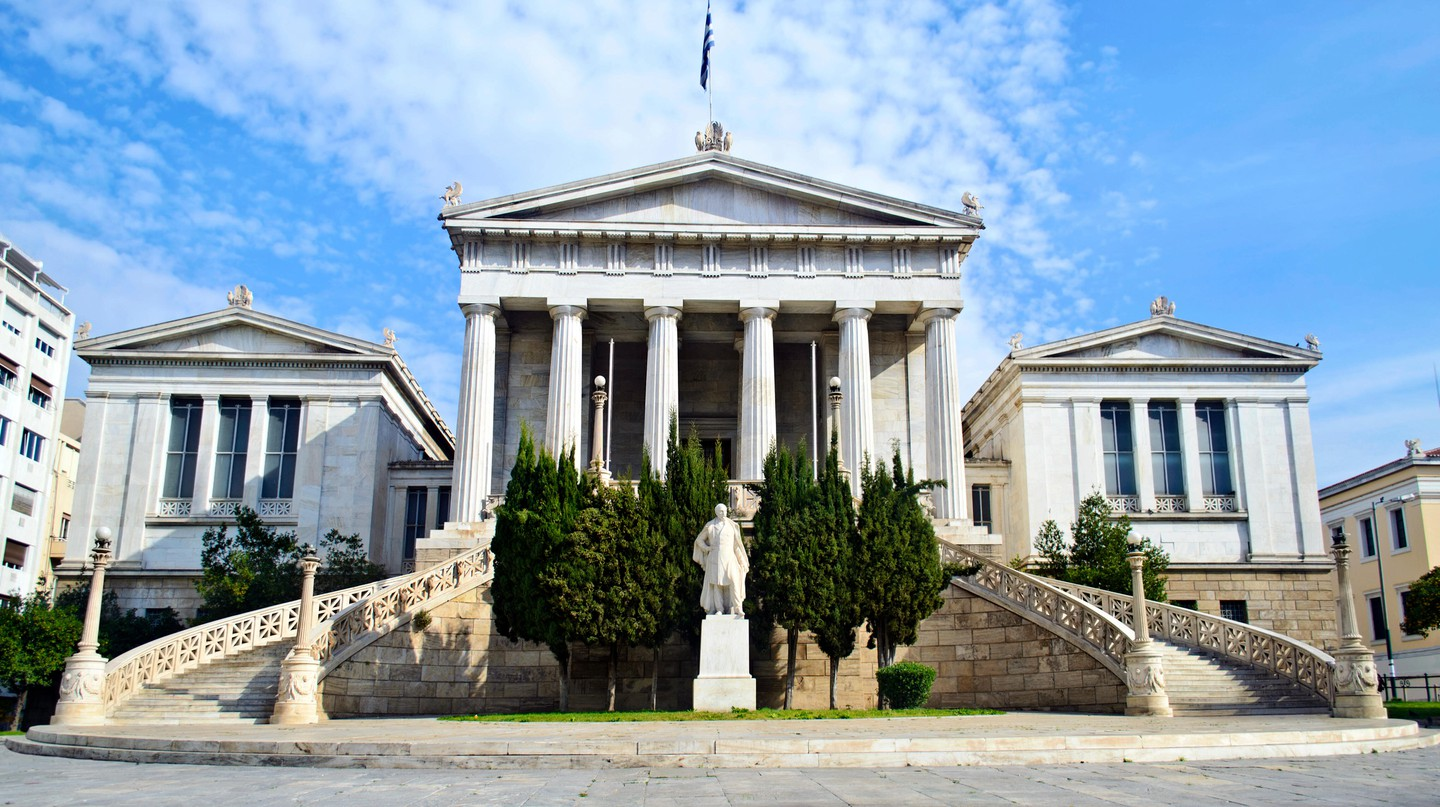 The stunning National Library of Athens was established in 1902 with the aim of preserving Hellenic intellectual heritage