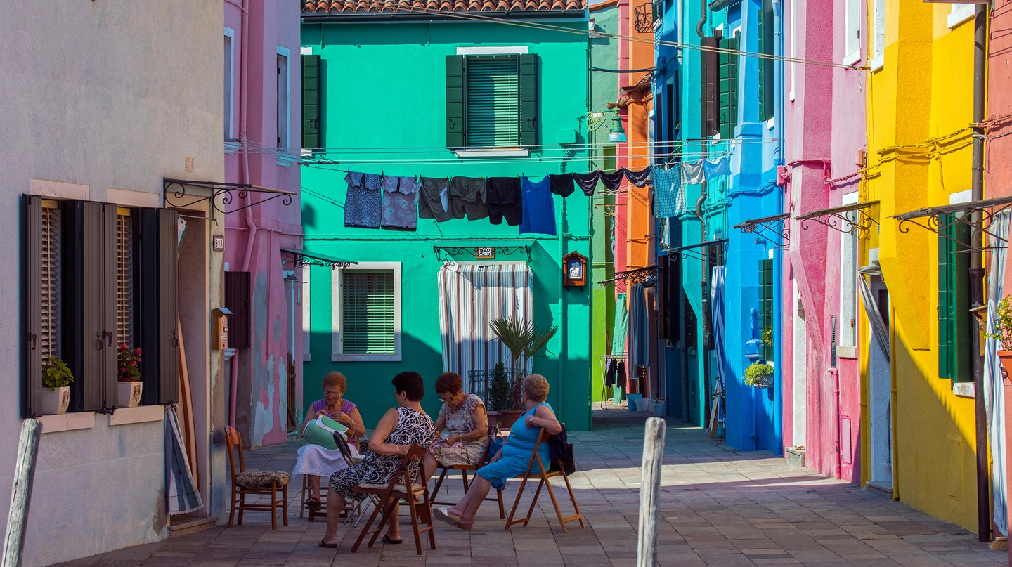 In Burano, northern Italy, residents have to seek government permission before painting their houses