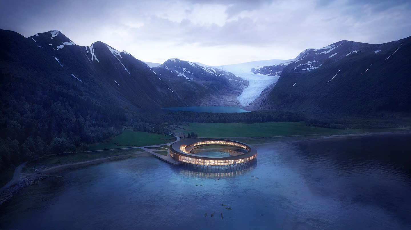This futuristic, ring-shaped, carbon-neutral hotel in Norway will provide stunning views of Arctic glaciers and the Northern Lights