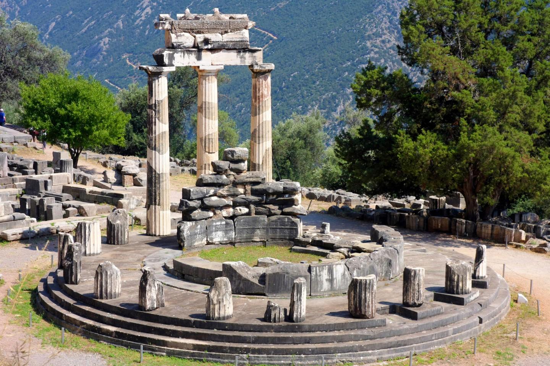 Panoramic view of Athena Pronaia Sanctuary at Delphi