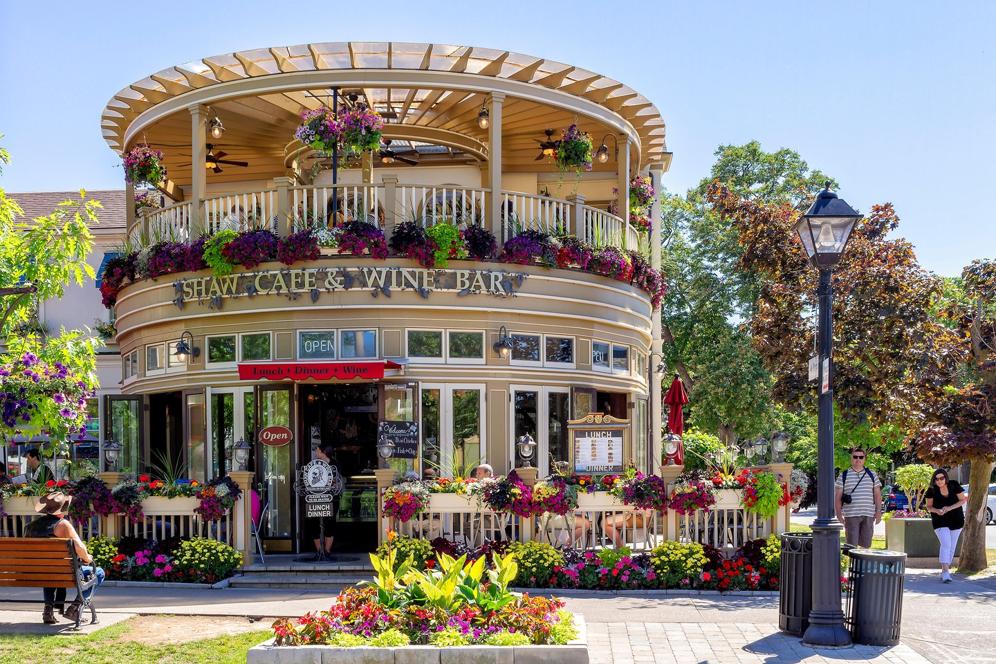 Niagara-on-the-lake, Ontatio, Canada - June 14, 2018: A famous restaurant, located in the Queen Street, is a fine wine bar and cafe, full of colors.