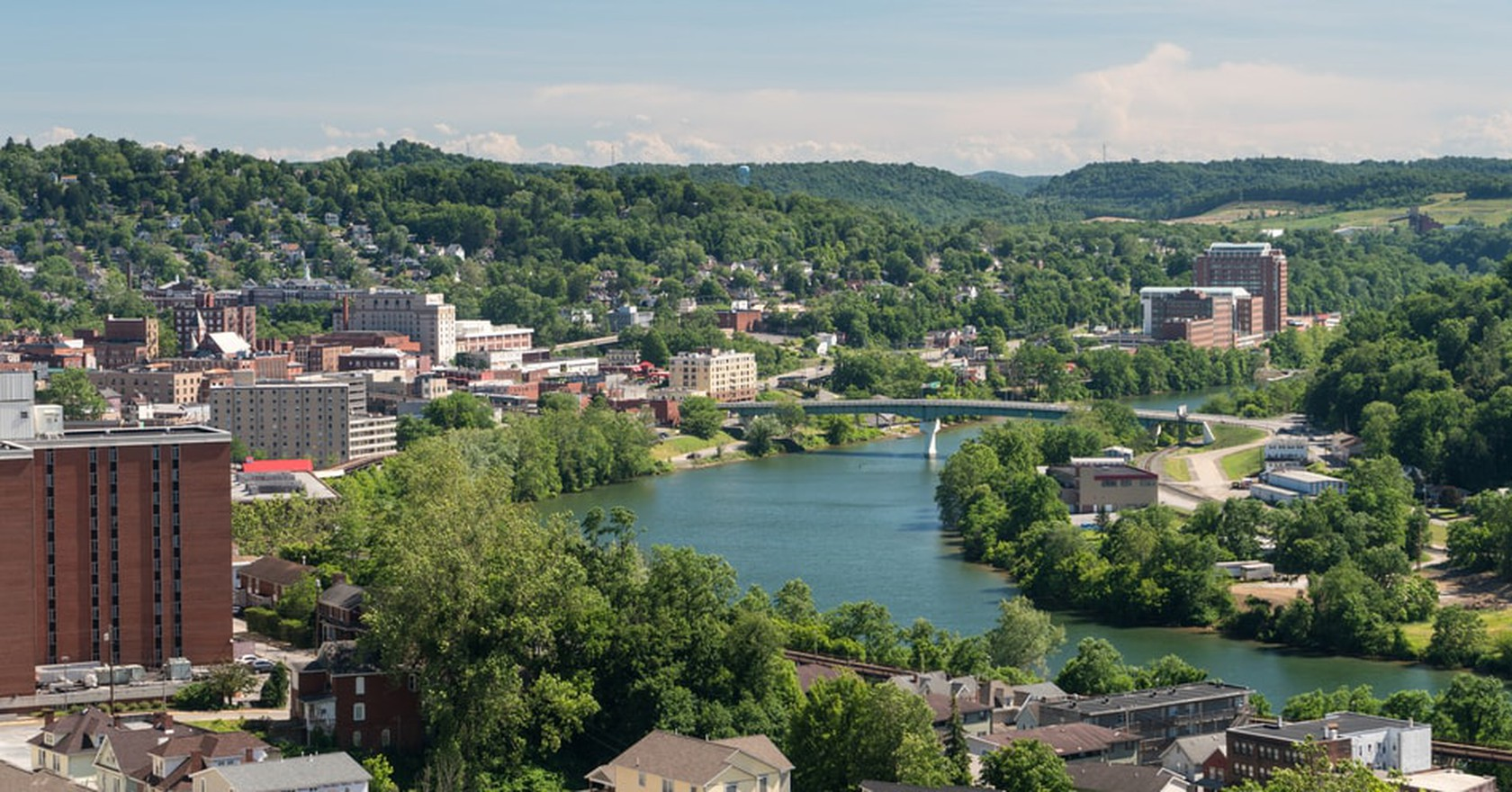 View Of The Downtown Area Morgantown Wv And Campus West Virginia University