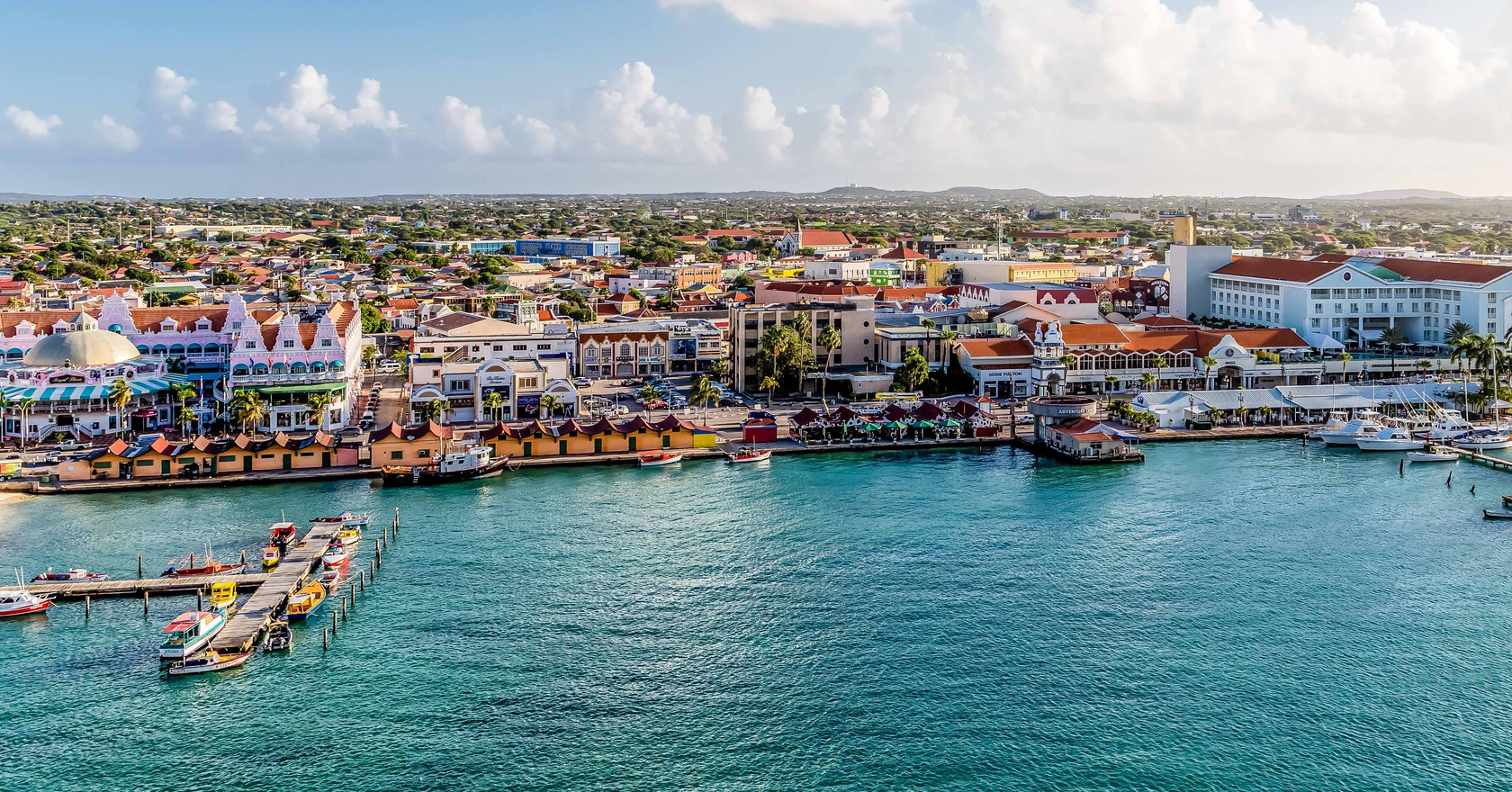 Oranjestad On The Island Of Aruba