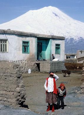 Kurdish settlement at the foot of Mount Ararat, 5165m, Turkey.