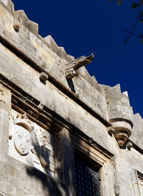 Decorative Gargoyle, Inn  of France, Street of the Knights, Rhodes Old Town, Rhodes, Dodecanese islands, Greece.