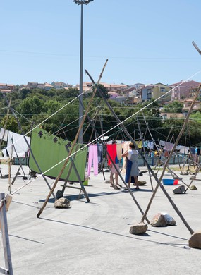 Local people of the small fishing village of Afurada, Portugal, hanging out washing to dry.