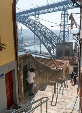 Ribeira district with the Dom Luis I Bridge in background.