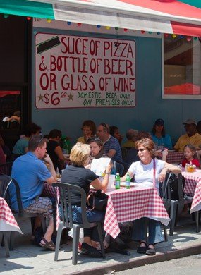 Outdoor seating at an italian restaurant in Little Italy in New York City. Image shot 2009. Exact date unknown.