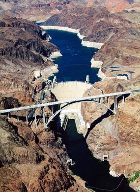 Aerial View Of Hoover Dam Over River