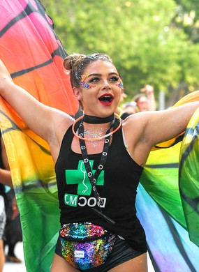 St. Petersburg, Florida, USA. 22nd June, 2019. A performer marches during the St. Pete Pride Parade on Saturday, June 22, 2019 in St. Petersburg. Credit: Allie Goulding/Tampa Bay Times/ZUMA Wire/Alamy Live News