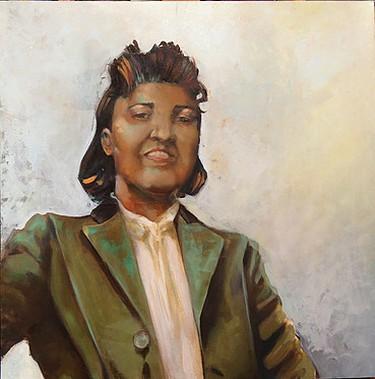Henrietta Lacks no. 3. Oil on Wood. 20x20. 2013. | Image courtesy of Joana Ricou