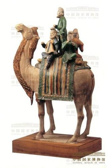 13 Polychrome Glazed Tomb Figurine of a Troupe of Musicians on a Camel