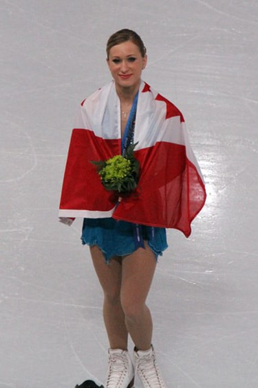Joannie Rochette at the Vancouver Olympic Games in 2010 medal ceremony | David W. Carmichael/WikiCommons
