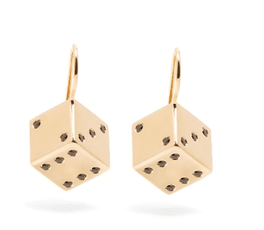 Alison Lou, Diamond & yellow-gold Dice earrings, £2,740 | Courtesy of Matches Fashion