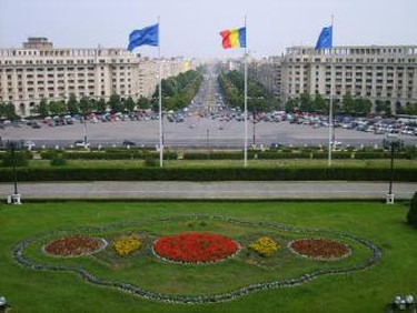 Bucharest Square flags