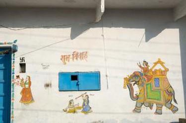 wedding paintings at hall in Delwara, Rajasth