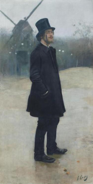 Le Bohème, poète de Montmartre (Portrait d'Erik Satie), 1891 Oil on canvas, 198.8 x 99.7 cm   Courtesy Northwestern University Library, Image courtesy of Esprit Montmartre at the Schirn Kunsthalle Frankfurt