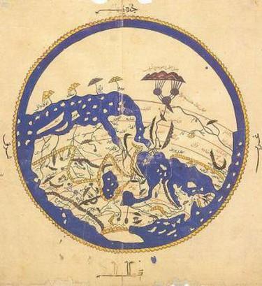 al-Idrisi world map, Arabic from 804/1154/1456 A.D.