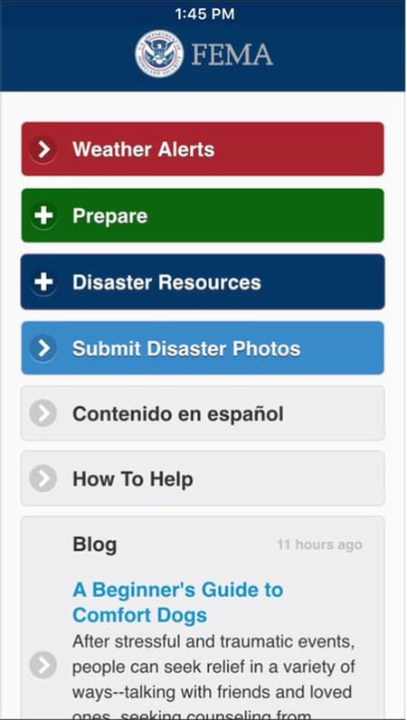 A screenshot of the main menu of the FEMA app as of June 2016