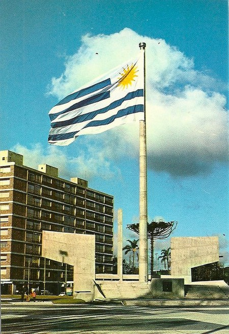 The big flag waves in Montevideo
