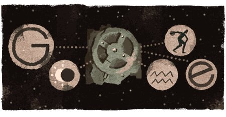 The Google Doodle celebrating the anniversary of discovering the Antikythera mechanism