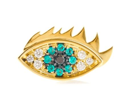 Delfina Delettrez, Emerald, diamond & yellow-gold earring, £1,130 | Courtesy of Matches Fashion
