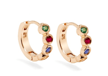 Alison Lou, Sapphire, ruby, emerald & gold Twister earrings, £1,280 | Courtesy of Matches Fashion