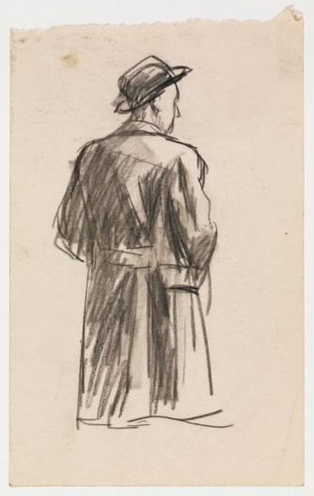 Edward Hopper, 1882-1967, Study for Conference at Night, 1949, Fabricated chalk and charcoal on paper, 8 1/8 x 5 in. (20.6 x 12.7 cm), irregular, Whitney Museum of American Art, New York; Josephine N. Hopper Bequest © Heirs of Josephine N. Hopper, licensed by Whitney Museum of American Art, N.Y.