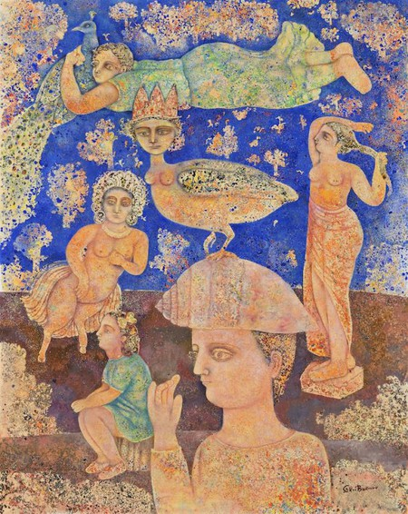 Sakti Burman, 'Lila's world', oil on canvas, 92x73cm