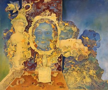 Sakti Burman, 'Through the Mirror', 1975, oil on canvas, 54x65cm