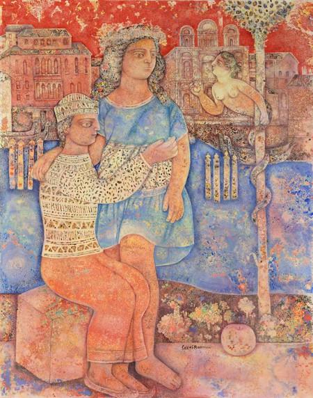 Sakti Burman, 'Lovers in Venice', 2013, oil on canvas, 92x66cm